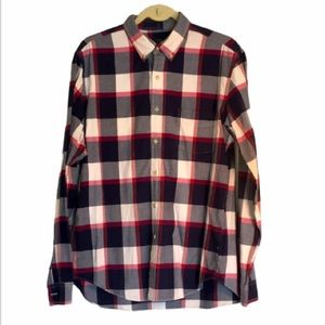 J crew men's L Oxford shirt plaid 100% Cotton EUC